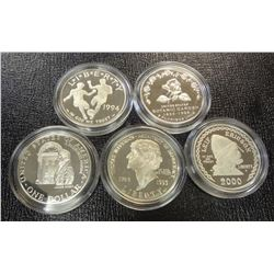 5 COMMEM PROOF SILVER DOLLARS