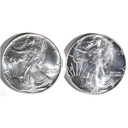 GEM BU 1987 & 1992 AMERICAN SILVER EAGLES