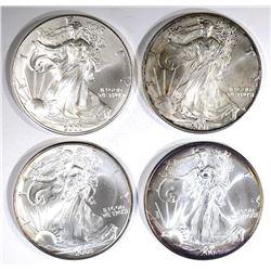 2000, 01, 02 & 03 BU AMERICAN SILVER EAGLES