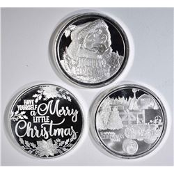 3-DIFFERENT 2018 CHRISTMAS SILVER ROUNDS