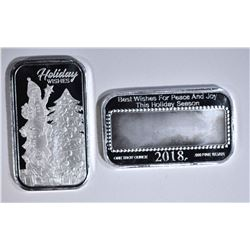2-HOLIDAY WISHES 1oz .999 SILVER BARS