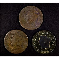 1816, 21 & 22 LARGE CENTS, GOOD