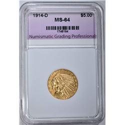 1914-D $5.00 GOLD INDIAN, NGP CH/GEM BU