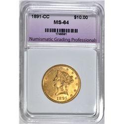 1891-CC $10.00 GOLD LIBERTY, NGP CH/GEM BU