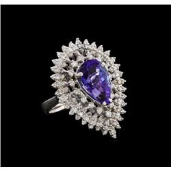 14KT White Gold 4.96 ctw Tanzanite and Diamond Ring