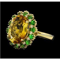 5.05 ctw Citrine Quartz, Tsavorite, and Diamond Ring - 14KT Yellow  Gold