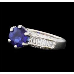 2.08 ctw Blue Sapphire and Diamond Ring - Platinum