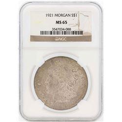 1921 $1 Morgan Silver Dollar Coin NGC MS65