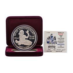 1987 Rarities Mint Walt Disney Snow White 50th 5 oz .999 Silver Coin w/Box & COA