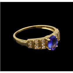 14KT Yellow Gold 0.94 ctw Tanzanite and Diamond Ring
