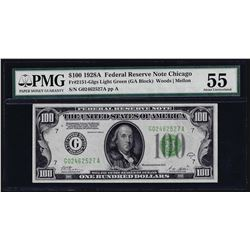 1928A $100 Federal Reserve Note Chicago Light Green Seal PMG About Uncirculated