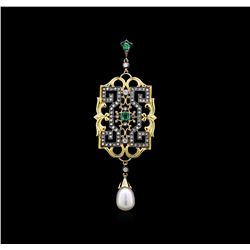 Pearl, Emerald and Diamond Pendant - 18KT Yellow Gold