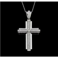 1.17 ctw Diamond Cross Pendant With Chain - 14KT White Gold