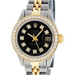 Rolex Ladies 2 Tone 14K Black Diamond Bezel & 1 ctw Bezel Datejust