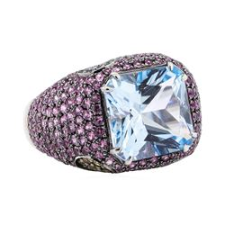 18.76 ctw Colored Stone Ring - 18KT White Gold with Black Rhodium Plating
