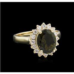 2.63 ctw Green Tourmaline and Diamond Ring - 14KT Yellow Gold