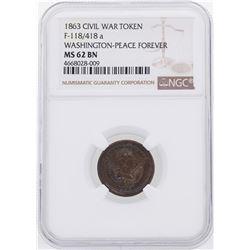 1863 Washington-Peace Forever Civil War Token NGC MS62BN