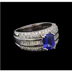 14KT White Gold 1.46 ctw Tanzanite and Diamond Ring