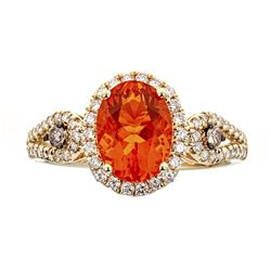 1.53 ctw Fire Opal and Diamond Ring - 14KT Yellow Gold