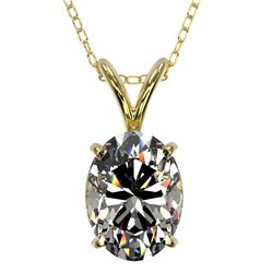 1.25 CTW Certified VS/SI Quality Oval Diamond Solitaire Necklace 10K Yellow Gold - REF-423X3T - 3321