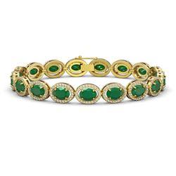 22.89 CTW Emerald & Diamond Halo Bracelet 10K Yellow Gold - REF-291A5X - 40603
