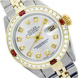 Rolex Ladies Two Tone 14K Gold/SS, Diam Dial & Diam/Ruby Bezel, Sapphire Crystal - REF-434X6Y