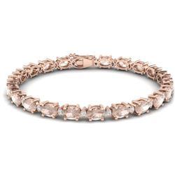 21.2 CTW Morganite & VS/SI Certified Diamond Eternity Bracelet 10K Rose Gold - REF-290M2H - 29456
