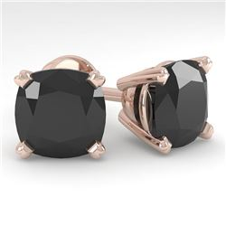 12 CTW Cushion Black Diamond Stud Designer Earrings 14K Rose Gold - REF-323Y6K - 38394