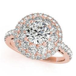 1.5 CTW Certified VS/SI Diamond Solitaire Halo Ring 18K Rose Gold - REF-180X2T - 26492