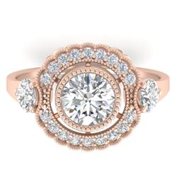 1.9 CTW Certified VS/SI Diamond Art Deco 3 Stone Ring 14K Rose Gold - REF-411N5Y - 30547