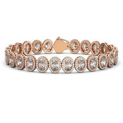 18.8 CTW Oval Diamond Designer Bracelet 18K Rose Gold - REF-3438F8N - 42816