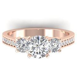 1.75 CTW Certified VS/SI Diamond 3 Stone Ring 14K Rose Gold - REF-389F8N - 30388