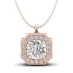 1.54 CTW VS/SI Diamond Solitaire Art Deco Necklace 18K Rose Gold - REF-409M3H - 37326
