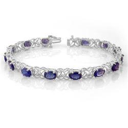 12.05 CTW Tanzanite & Diamond Bracelet 14K White Gold - REF-113W8F - 10905