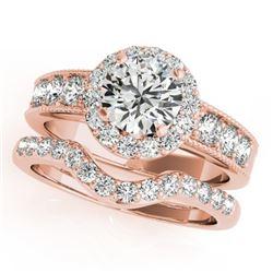 1.96 CTW Certified VS/SI Diamond 2Pc Wedding Set Solitaire Halo 14K Rose Gold - REF-258M4H - 31311