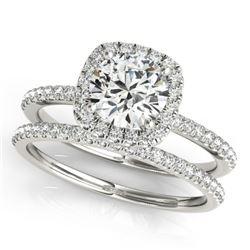 1.70 CTW Certified VS/SI Diamond 2Pc Wedding Set Solitaire Halo 14K White Gold - REF-488F2N - 30663