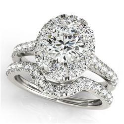 2.22 CTW Certified VS/SI Diamond 2Pc Wedding Set Solitaire Halo 14K White Gold - REF-267Y8K - 31169