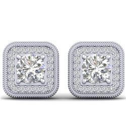 2 CTW Certified VS/SI Diamond Art Deco Micro Halo Stud Earrings 14K White Gold - REF-224H4A - 30498