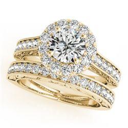 1.81 CTW Certified VS/SI Diamond 2Pc Wedding Set Solitaire Halo 14K Yellow Gold - REF-247Y6K - 30950