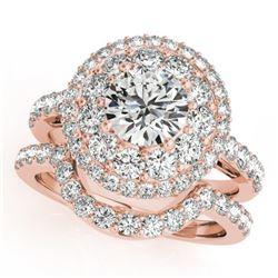 1.88 CTW Certified VS/SI Diamond 2Pc Wedding Set Solitaire Halo 14K Rose Gold - REF-200T2M - 30934