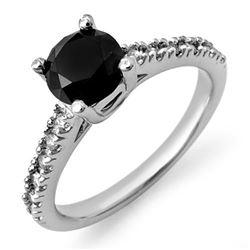 1.72 CTW VS Certified Black & White Diamond Ring 14K White Gold - REF-79W6F - 11822
