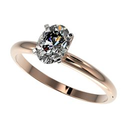 1 CTW Certified VS/SI Quality Oval Diamond Solitaire Ring 10K Rose Gold - REF-297H2A - 32895