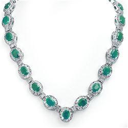 37.70 CTW Emerald & Diamond Necklace 14K White Gold - REF-800M2H - 13403