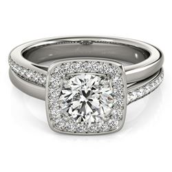 0.85 CTW Certified VS/SI Diamond Solitaire Halo Ring 18K White Gold - REF-147A3X - 26838
