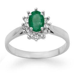 0.70 CTW Emerald & Diamond Ring 14K White Gold - REF-27M3H - 13721