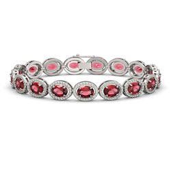 21.71 CTW Tourmaline & Diamond Halo Bracelet 10K White Gold - REF-338M9H - 40619