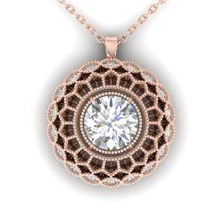 1.25 CTW Certified VS/SI Diamond Art Deco Necklace 14K Rose Gold - REF-360X4T - 30559