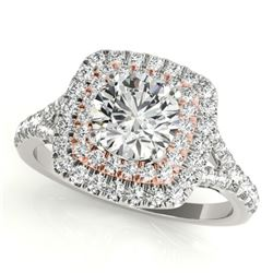 1.04 CTW Certified VS/SI Diamond Solitaire Halo Ring 18K White & Rose Gold - REF-134H9A - 26233