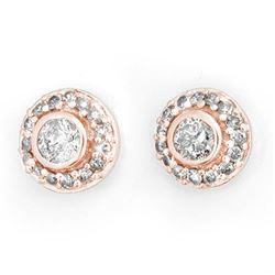 0.90 CTW Certified VS/SI Diamond Solitaire Stud Earrings 14K Rose Gold - REF-91K3W - 11463
