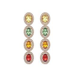 6.09 CTW Multi Color Sapphire & Diamond Halo Earrings 10K Rose Gold - REF-135Y3K - 40551